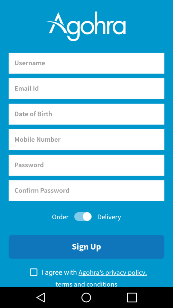 Creating an Account with Agohra Delivery App
