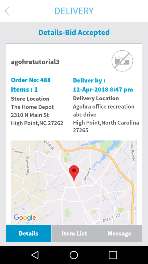 Delivery Details When Bid is Accepted