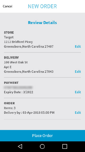 Credit Card Payment for an Order in Greensboro, NC