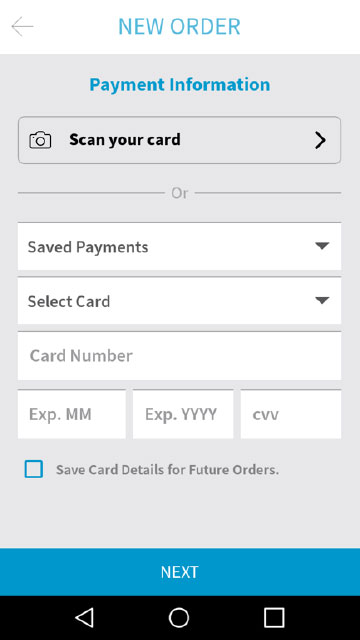Placing an Order - Step 6 - Scan Credit Card